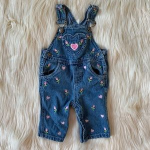 Baby Girl Flower Overalls, Denim + Pink, 0-3 Month